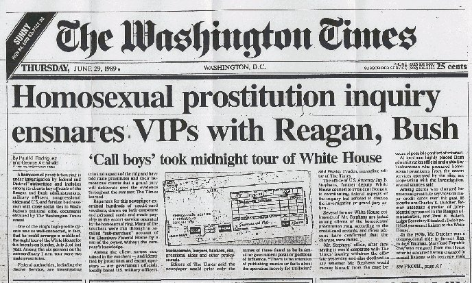 Homosexual prostitution inquiry ensnares VIPs with Reagan, Bush