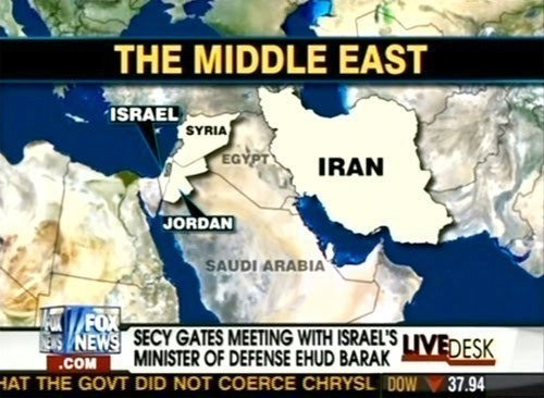 FOX News map with Iraq mislabeled as Egypt