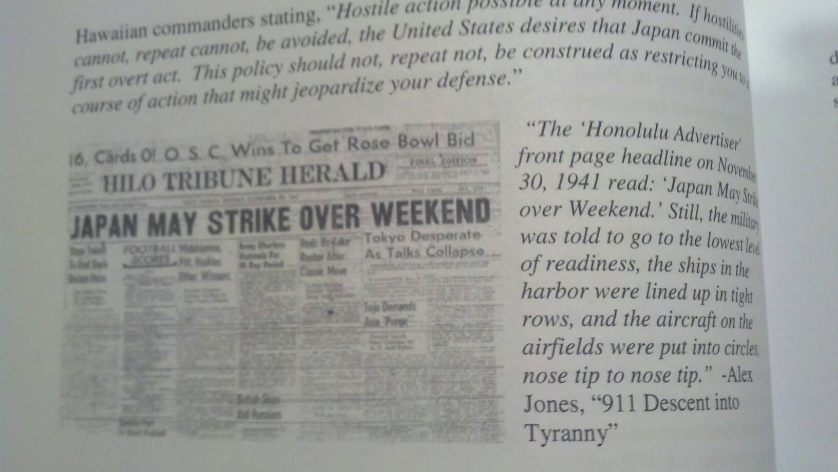 Hilo Tribune Herald: Japan May Strike Over Weekend