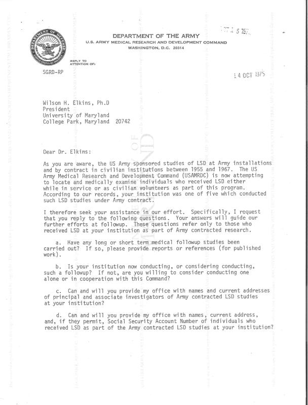 Memo for follow-up LSD studies from U.S. Army to Wilson H. Elkins of the University of Maryland